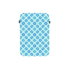 Pastel Turquoise Blue Retro Circles Apple iPad Mini Protective Soft Cases by BrightVibesDesign