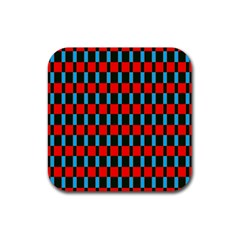 Black Red Rectangles Pattern                                                          rubber Square Coaster (4 Pack by LalyLauraFLM