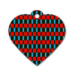 Black Red Rectangles Pattern                                                          			dog Tag Heart (one Side) by LalyLauraFLM