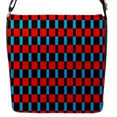Black Red Rectangles Pattern                                                          			flap Closure Messenger Bag (s) by LalyLauraFLM