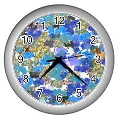 Mixed Brushes                                                           wall Clock (silver) by LalyLauraFLM