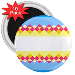 Rhombus And Stripes                                                             			3  Magnet (10 Pack) by LalyLauraFLM