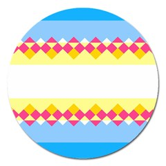 Rhombus and stripes                                                             Magnet 5  (Round) by LalyLauraFLM