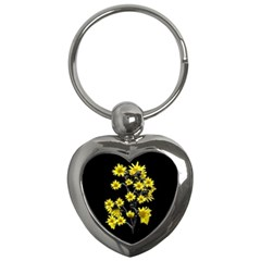 Sunflowers Over Black Key Chains (heart)  by dflcprints