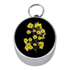 Sunflowers Over Black Mini Silver Compasses by dflcprints