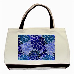 Azurite Blue Flowers Basic Tote Bag by KirstenStar