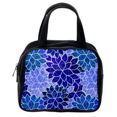 Azurite Blue Flowers Classic Handbags (one Side) by KirstenStar