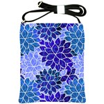 Azurite Blue Flowers Shoulder Sling Bags