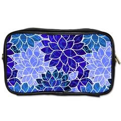 Azurite Blue Flowers Toiletries Bags by KirstenStar