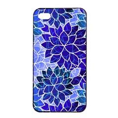 Azurite Blue Flowers Apple Iphone 4/4s Seamless Case (black) by KirstenStar