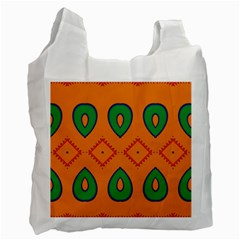 Rhombus And Leaves                                                                Recycle Bag by LalyLauraFLM