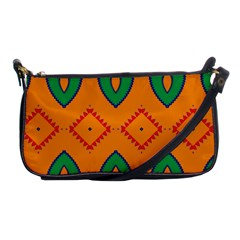 Rhombus And Leaves                                                                shoulder Clutch Bag by LalyLauraFLM