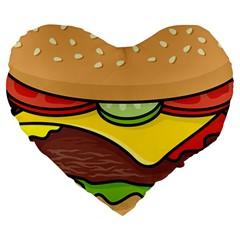 Cheeseburger Large 19  Premium Flano Heart Shape Cushions by sifis