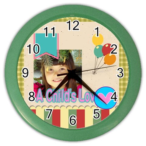 Kids By Kids   Color Wall Clock   Qw3xrq09zd8f   Www Artscow Com Front