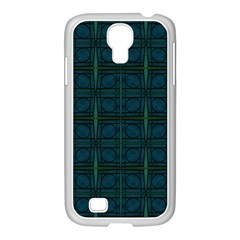 Dark Blue Teal Mod Circles Samsung Galaxy S4 I9500/ I9505 Case (white) by BrightVibesDesign