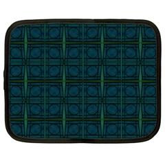 Dark Blue Teal Mod Circles Netbook Case (xxl)  by BrightVibesDesign