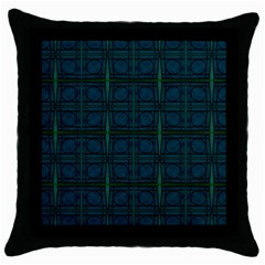 Dark Blue Teal Mod Circles Throw Pillow Case (black) by BrightVibesDesign