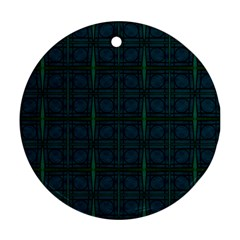 Dark Blue Teal Mod Circles Round Ornament (two Sides)  by BrightVibesDesign
