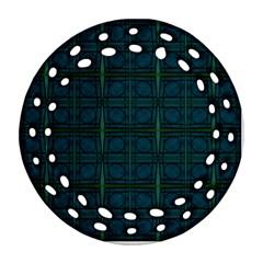 Dark Blue Teal Mod Circles Ornament (round Filigree)  by BrightVibesDesign