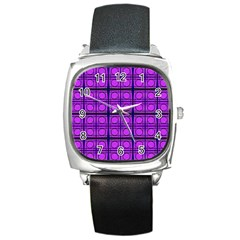 Bright Pink Mod Circles Square Metal Watch by BrightVibesDesign