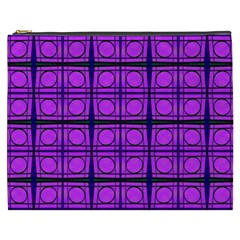 Bright Pink Mod Circles Cosmetic Bag (XXXL)  by BrightVibesDesign