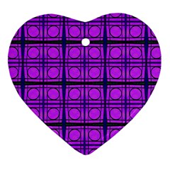 Bright Pink Mod Circles Heart Ornament (2 Sides) by BrightVibesDesign