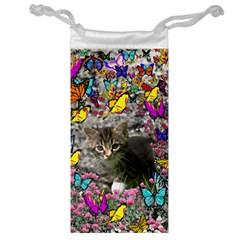 Emma In Butterflies I, Gray Tabby Kitten Jewelry Bags by DianeClancy
