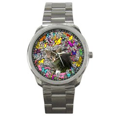 Emma In Butterflies I, Gray Tabby Kitten Sport Metal Watch by DianeClancy