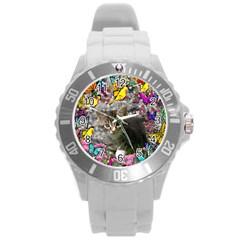 Emma In Butterflies I, Gray Tabby Kitten Round Plastic Sport Watch (l) by DianeClancy
