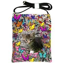 Emma In Butterflies I, Gray Tabby Kitten Shoulder Sling Bags by DianeClancy