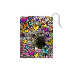 Emma In Butterflies I, Gray Tabby Kitten Drawstring Pouches (small)  by DianeClancy