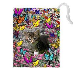 Emma In Butterflies I, Gray Tabby Kitten Drawstring Pouches (xxl) by DianeClancy
