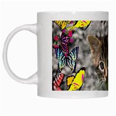 Emma In Butterflies I, Gray Tabby Kitten White Mugs by DianeClancy