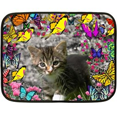 Emma In Butterflies I, Gray Tabby Kitten Double Sided Fleece Blanket (mini)  by DianeClancy
