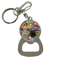 Emma In Butterflies I, Gray Tabby Kitten Bottle Opener Key Chains by DianeClancy