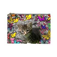 Emma In Butterflies I, Gray Tabby Kitten Cosmetic Bag (large)  by DianeClancy