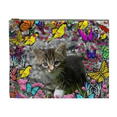 Emma In Butterflies I, Gray Tabby Kitten Cosmetic Bag (xl) by DianeClancy