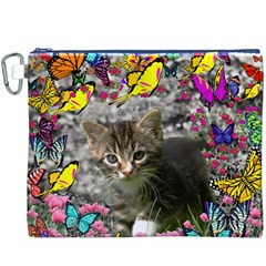 Emma In Butterflies I, Gray Tabby Kitten Canvas Cosmetic Bag (xxxl) by DianeClancy