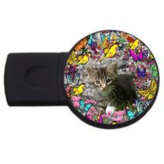 Emma In Butterflies I, Gray Tabby Kitten Usb Flash Drive Round (4 Gb)  by DianeClancy