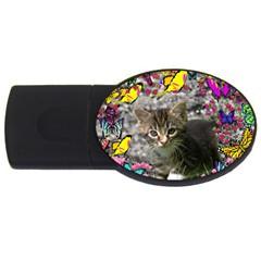 Emma In Butterflies I, Gray Tabby Kitten Usb Flash Drive Oval (4 Gb)  by DianeClancy