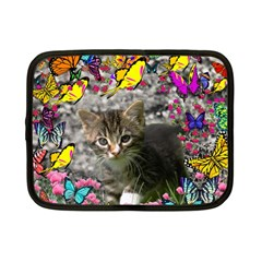 Emma In Butterflies I, Gray Tabby Kitten Netbook Case (small)  by DianeClancy