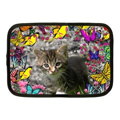 Emma In Butterflies I, Gray Tabby Kitten Netbook Case (medium)  by DianeClancy