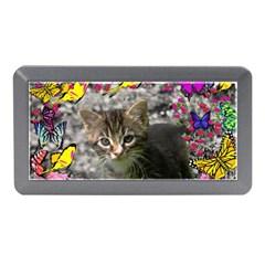 Emma In Butterflies I, Gray Tabby Kitten Memory Card Reader (mini) by DianeClancy