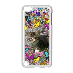 Emma In Butterflies I, Gray Tabby Kitten Apple Ipod Touch 5 Case (white) by DianeClancy