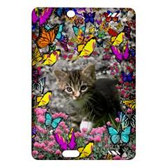 Emma In Butterflies I, Gray Tabby Kitten Amazon Kindle Fire Hd (2013) Hardshell Case by DianeClancy
