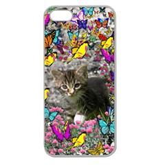 Emma In Butterflies I, Gray Tabby Kitten Apple Seamless Iphone 5 Case (clear) by DianeClancy