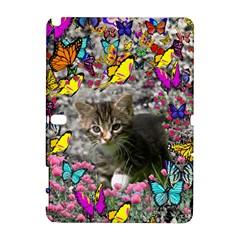 Emma In Butterflies I, Gray Tabby Kitten Samsung Galaxy Note 10 1 (p600) Hardshell Case by DianeClancy