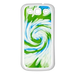 Tie Dye Green Blue Abstract Swirl Samsung Galaxy S3 Back Case (white) by BrightVibesDesign