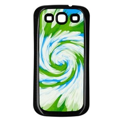Tie Dye Green Blue Abstract Swirl Samsung Galaxy S3 Back Case (Black) by BrightVibesDesign