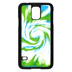 Tie Dye Green Blue Abstract Swirl Samsung Galaxy S5 Case (black) by BrightVibesDesign